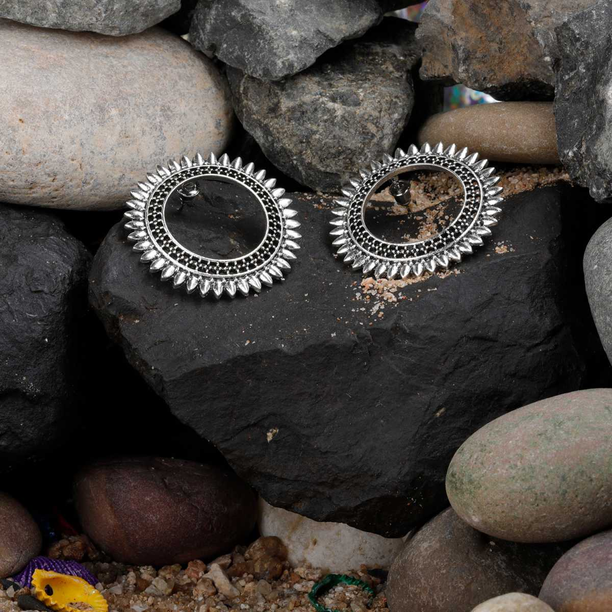 Silver Shine Graceful Silver Hollow Sunflower Big Stud Earrings for Women