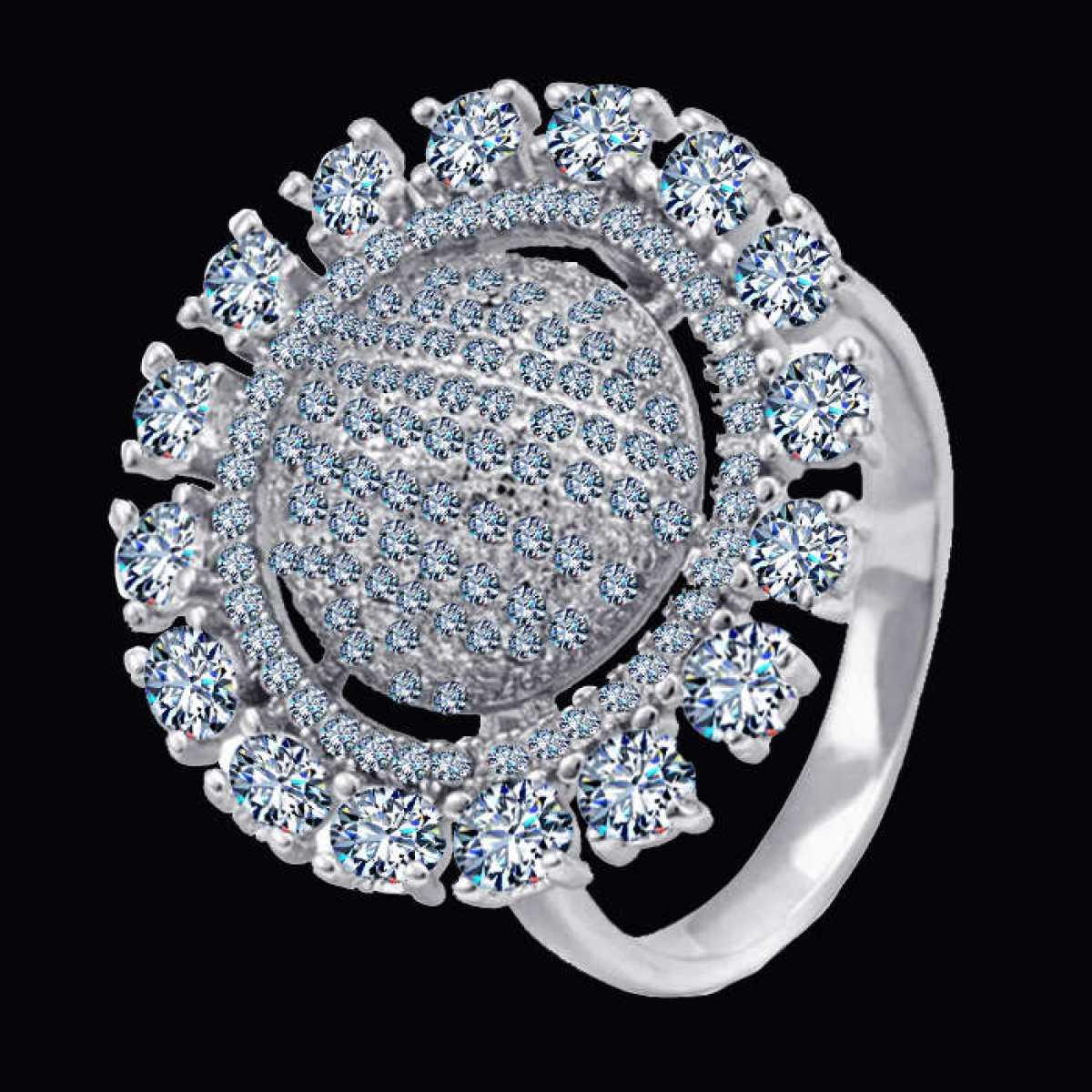 Big Soliter diamond sterling silver ring