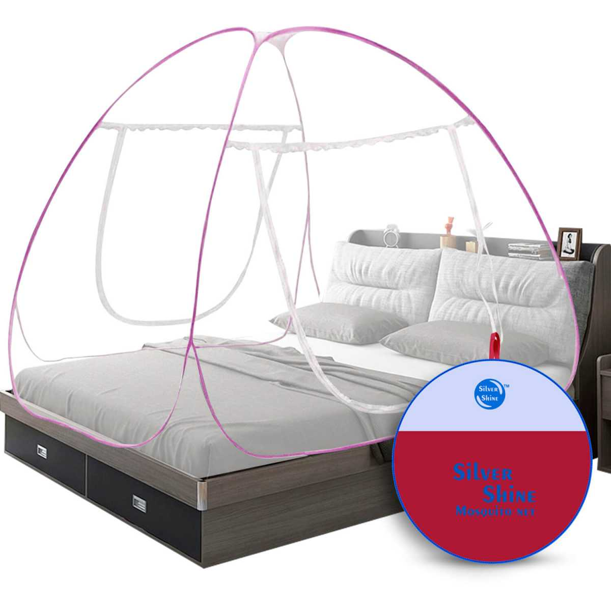 Silver Shine Pink Mosquito Net Foldable Double Bed Net