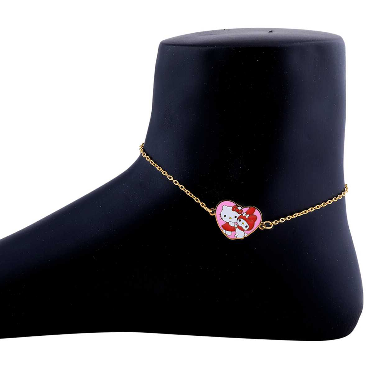 SILVER SHINE Antique Gold Plated Heart Pandent Shape Anklet For Women Girl