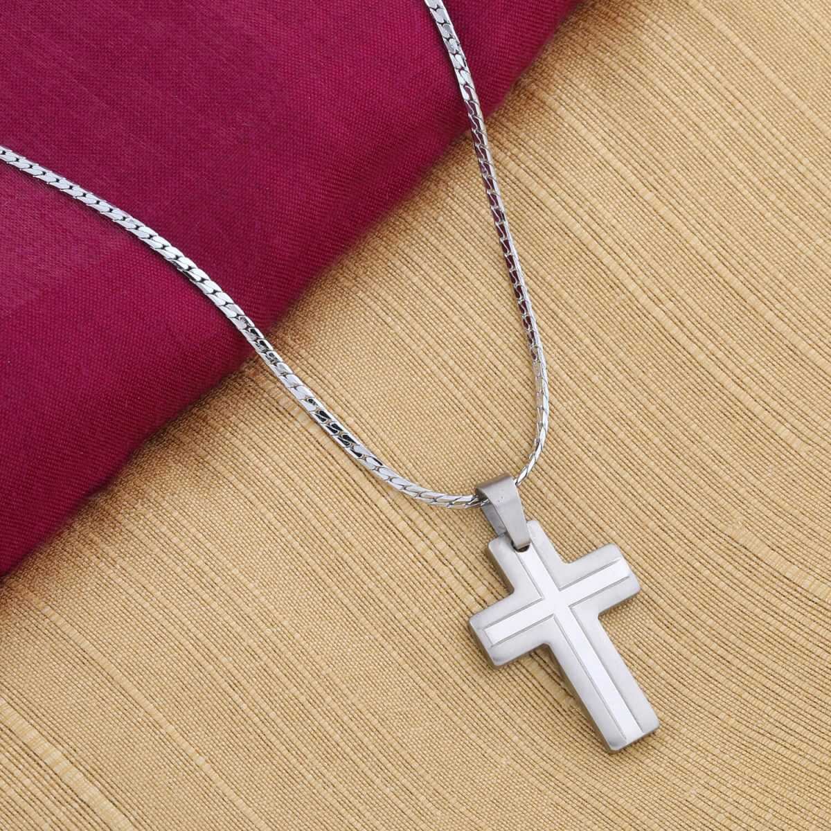 Silver Shine Trendy Silver Plated Wheat Chain With Cross Pendent For Men And Women