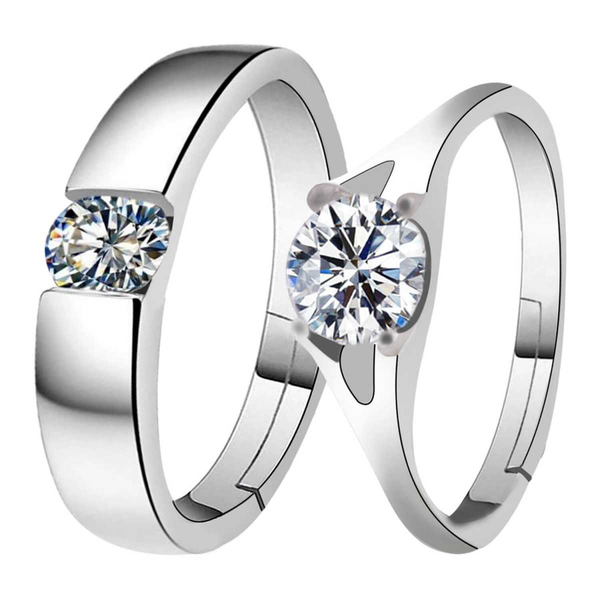 Silverplated Solitaire His and Her Adjustable proposal Diamond couple ring For Men And Women Jewellery