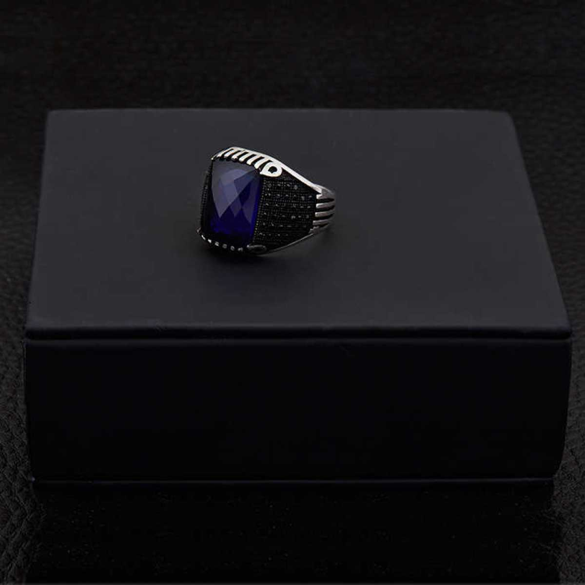 Silver Shine 92.5 Sterling Silver  Blue Stone Silver Ring  for Mens