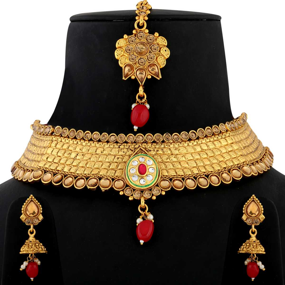Silver shine Gold Plated Choker kundan red stone-studded  Set for Girls And Women