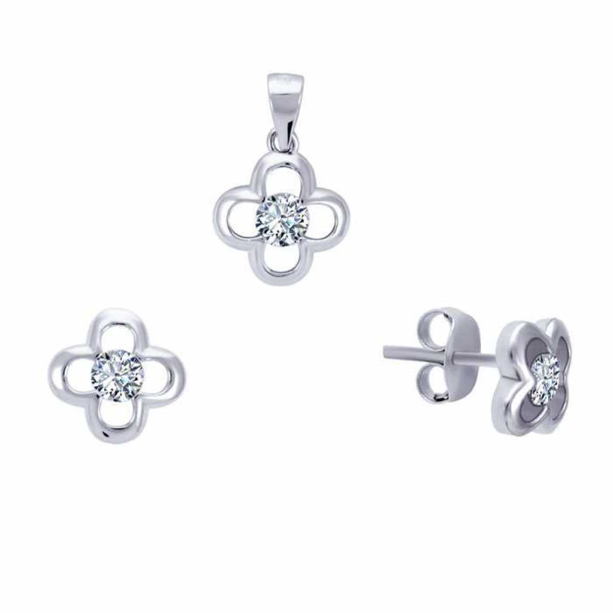 Sweet Flower Sterling Silver Pendant Set