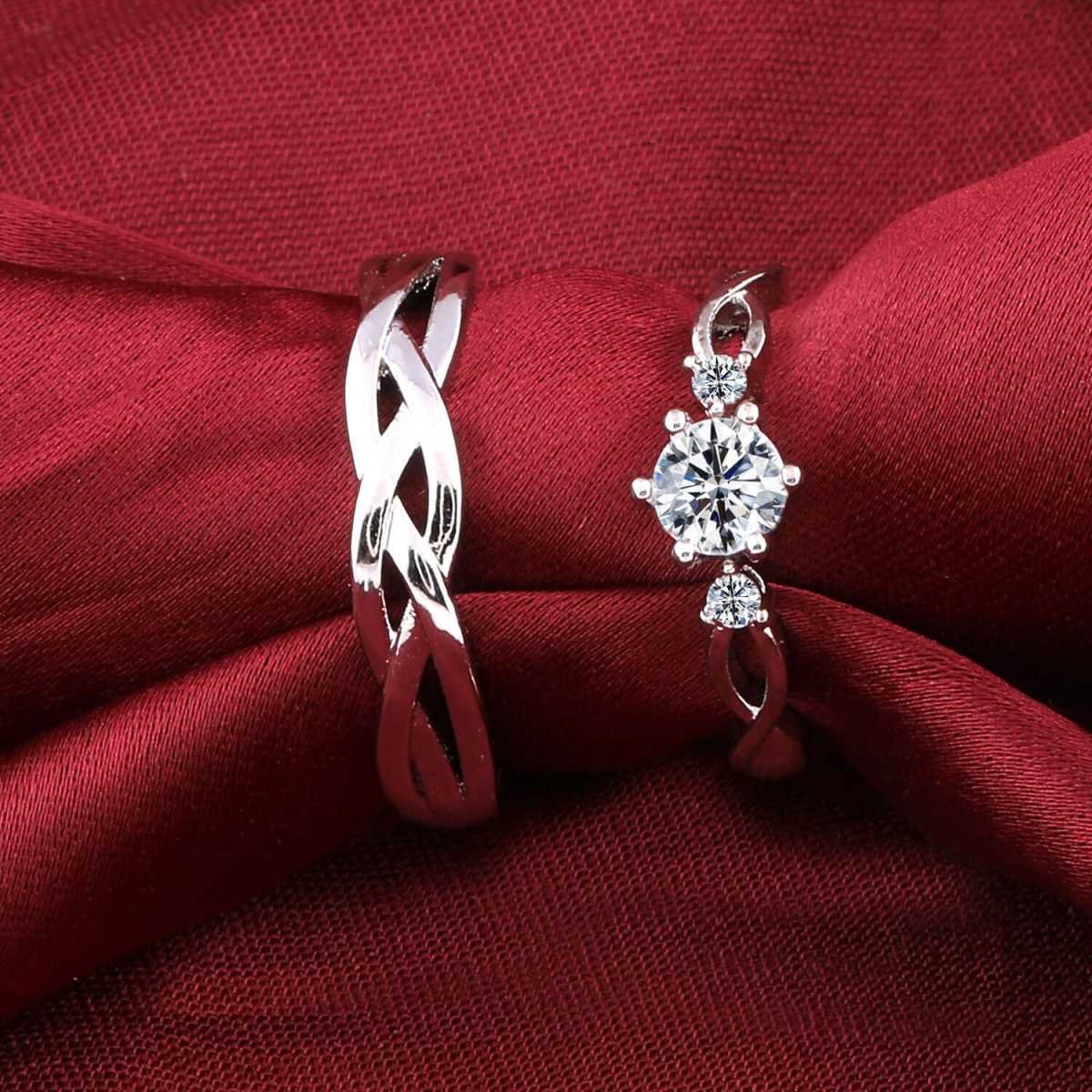 Silverplated Adorable His and Her Adjustable proposal couple ring For Men And Women Jewellery