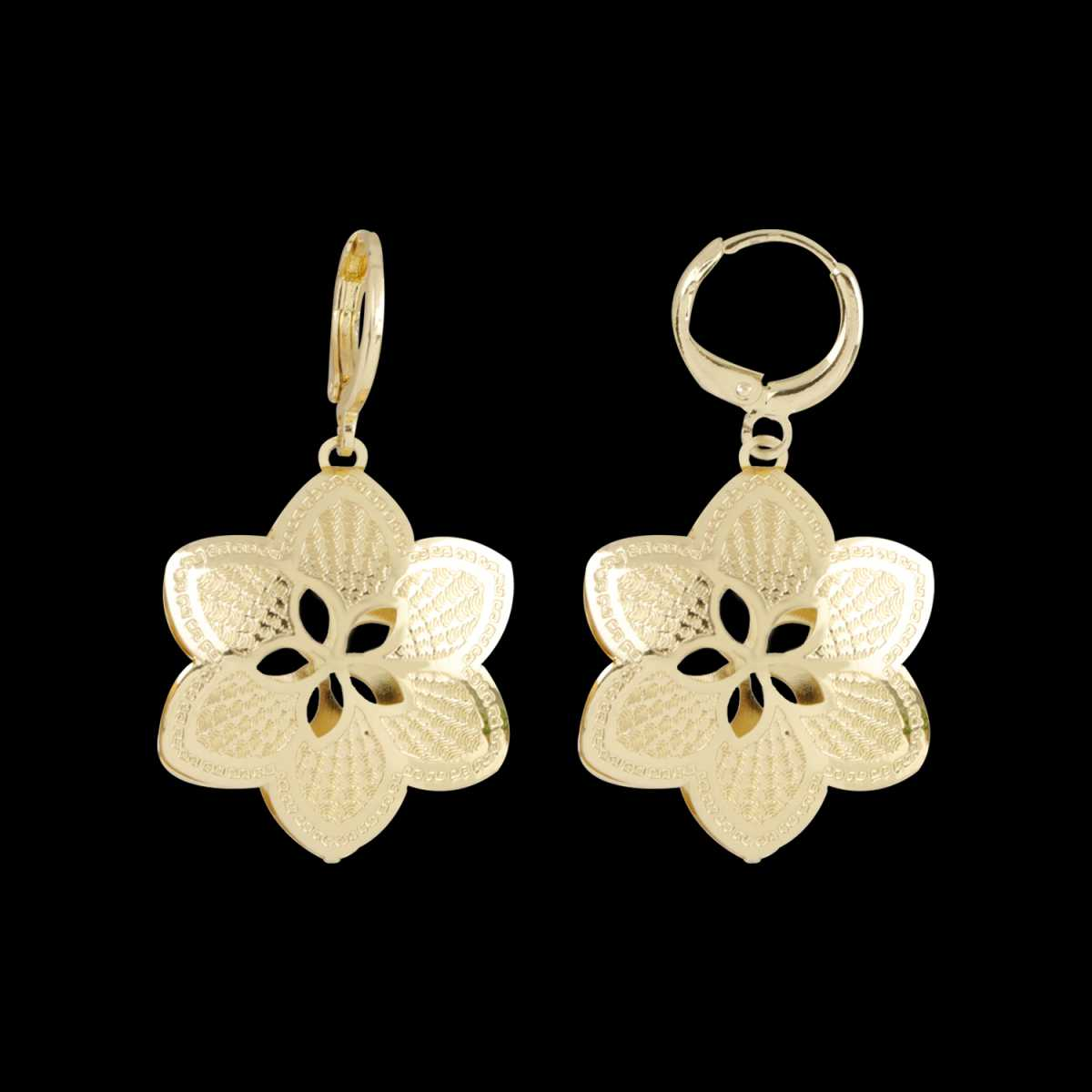 Silver Shine Classic Golden Flower Clip On Bali Earring for Women