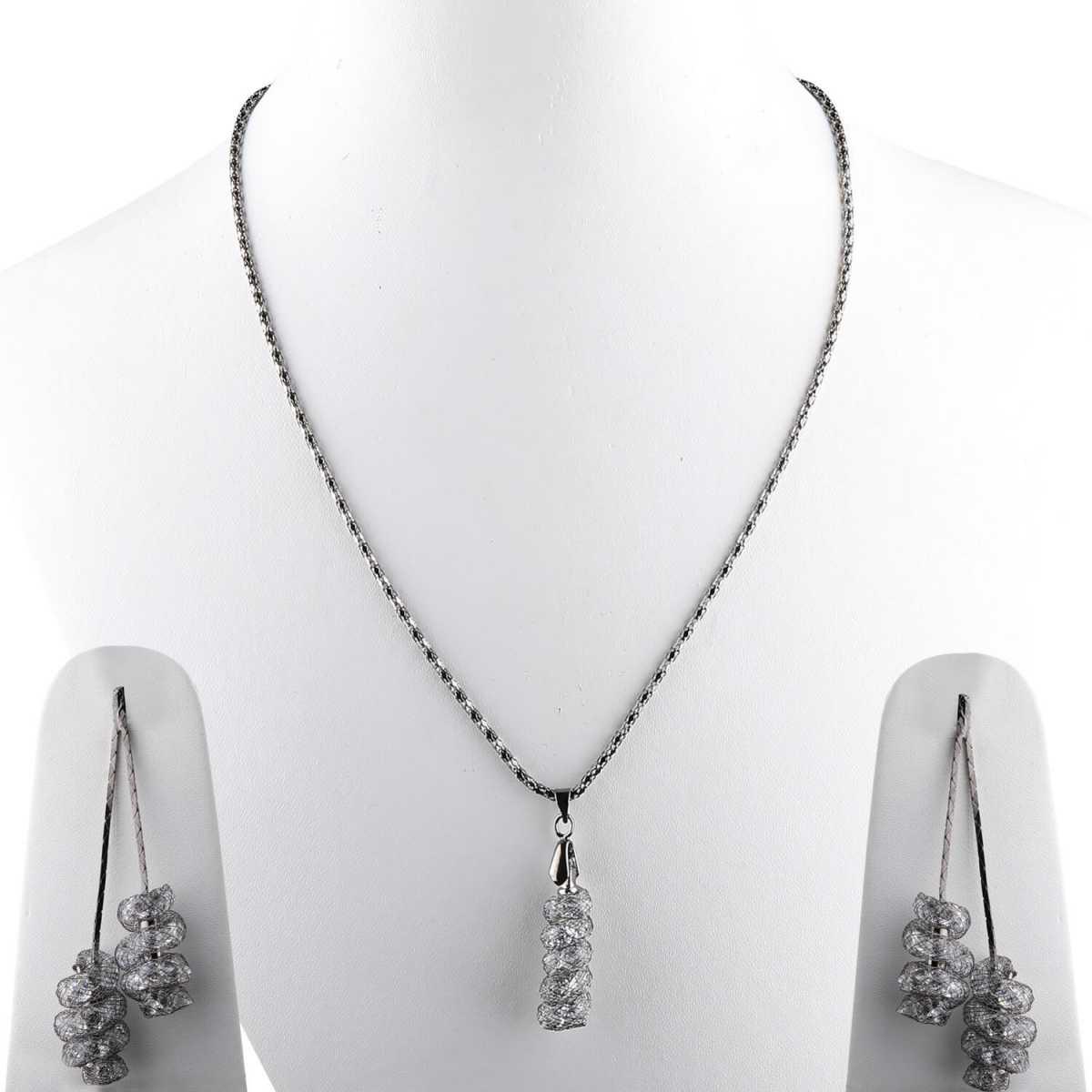 Silverplated Designer Diamond Studded Metal polish Necklace for women jewellery