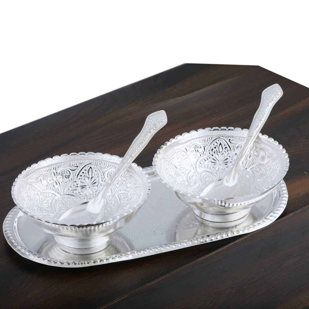 Silver Shine Gold And Silver Plated Decorative Bowl And Spoon Set For Gift-Set of 5
