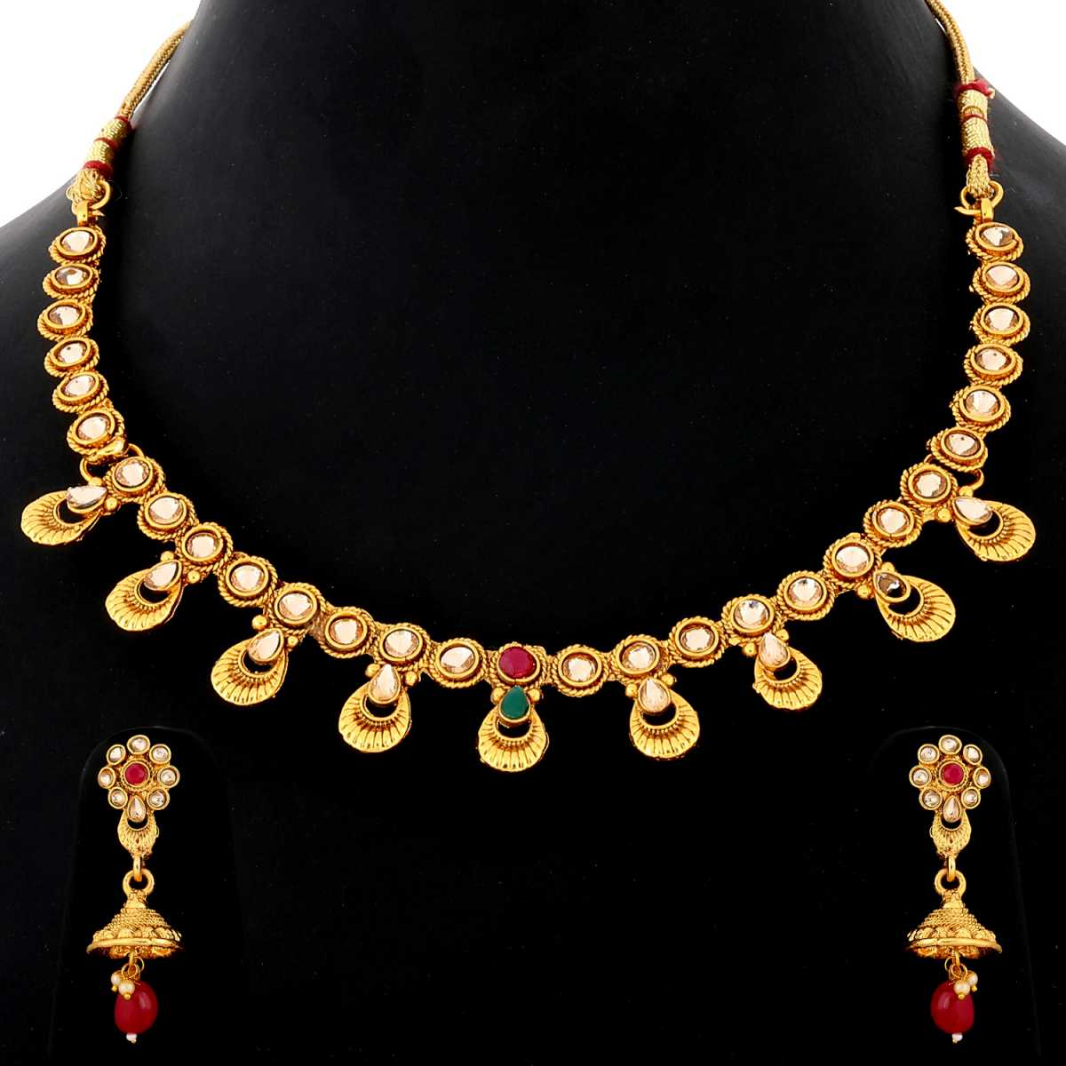 Silver Shine Exclusive Traditional Gold Plated Red and Green Kundan stone studded Designer Bridal Wedding Necklace Jewellery Set for Girls And women