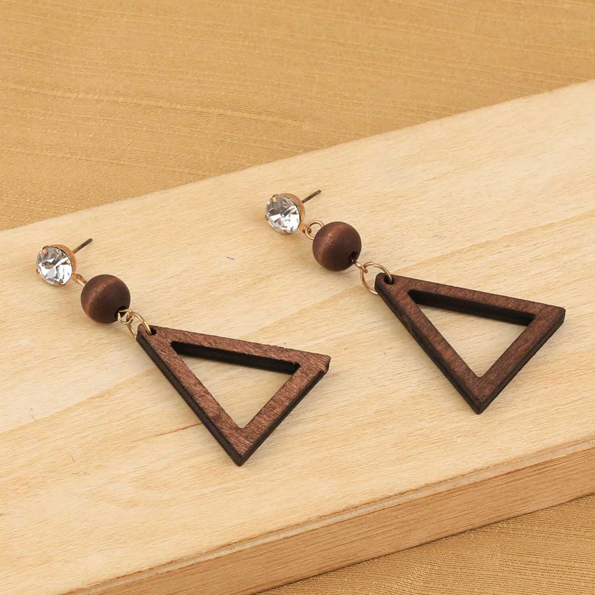 SILVER SHINE Elegant Dangler Brown Wooden Fashion Earrings For Girls and Women