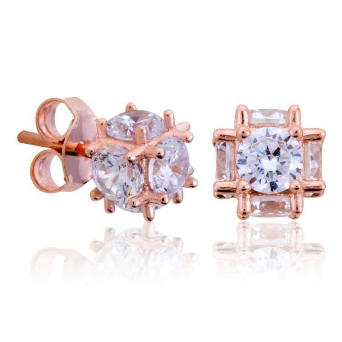 Rose Gold Square Diamond Earring