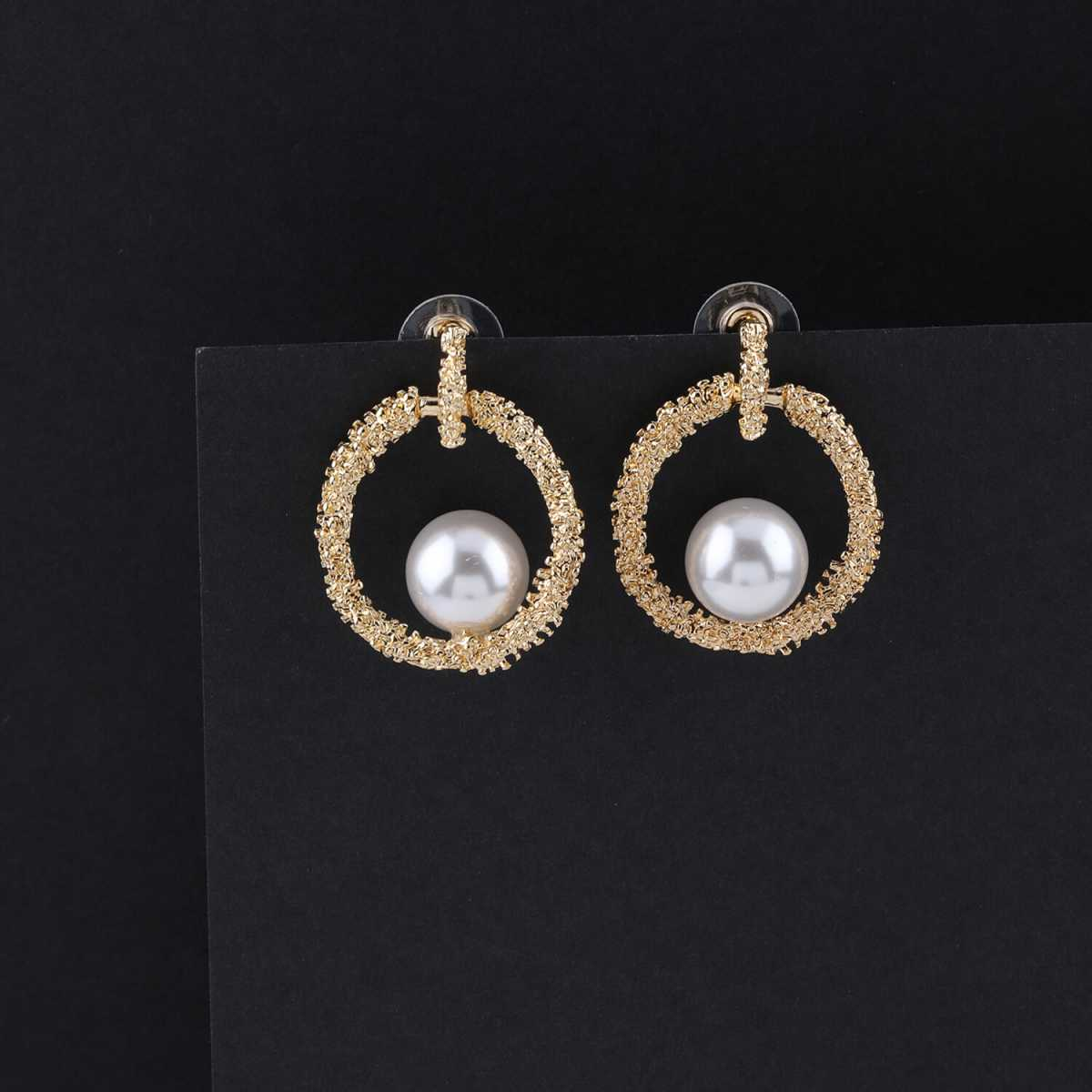 SILVER SHINE Party Wear Charm  Pearl Stud Earring For Women Girl