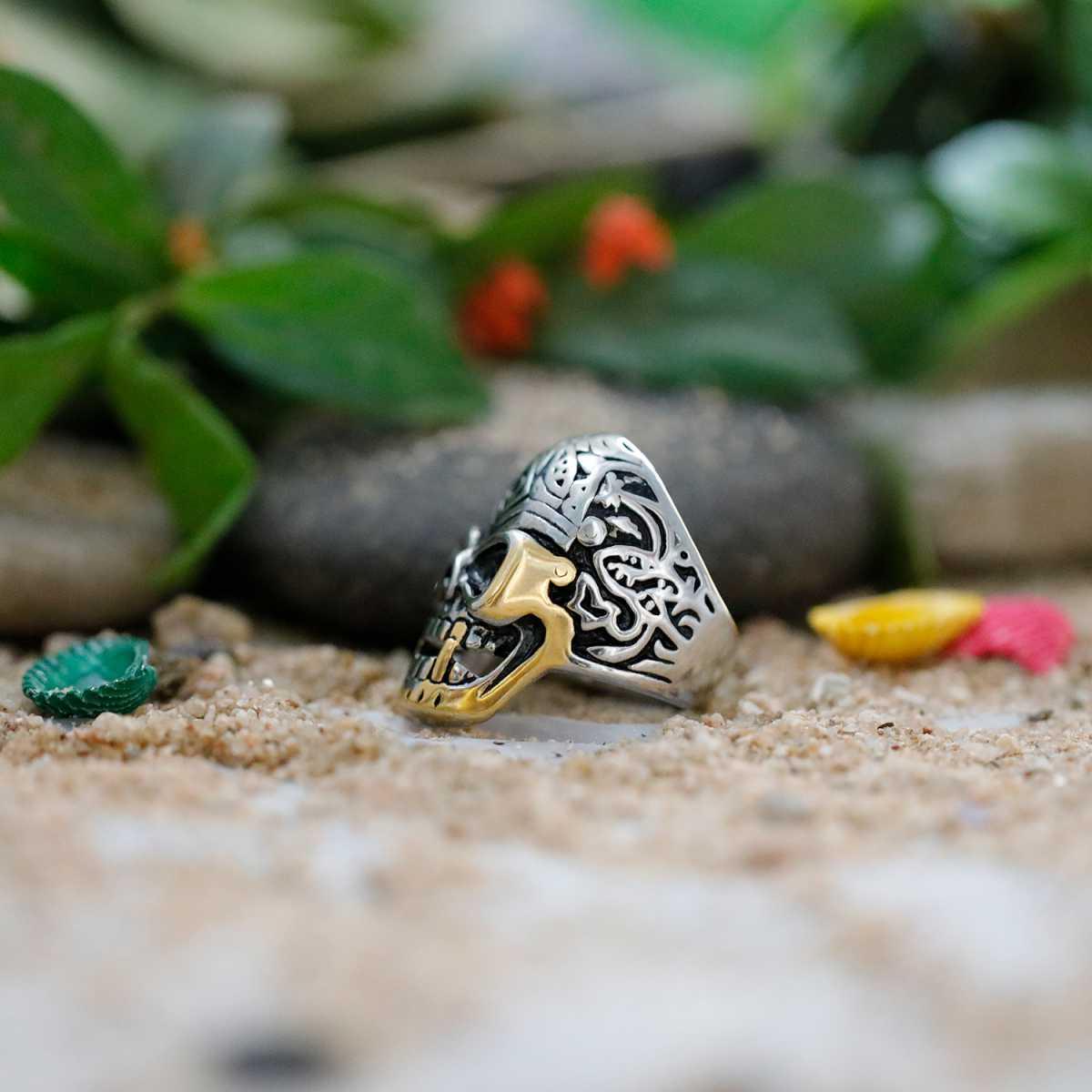 Silver Shine Stainless Steel Gothic Skull Finger Ring for Boys and Men