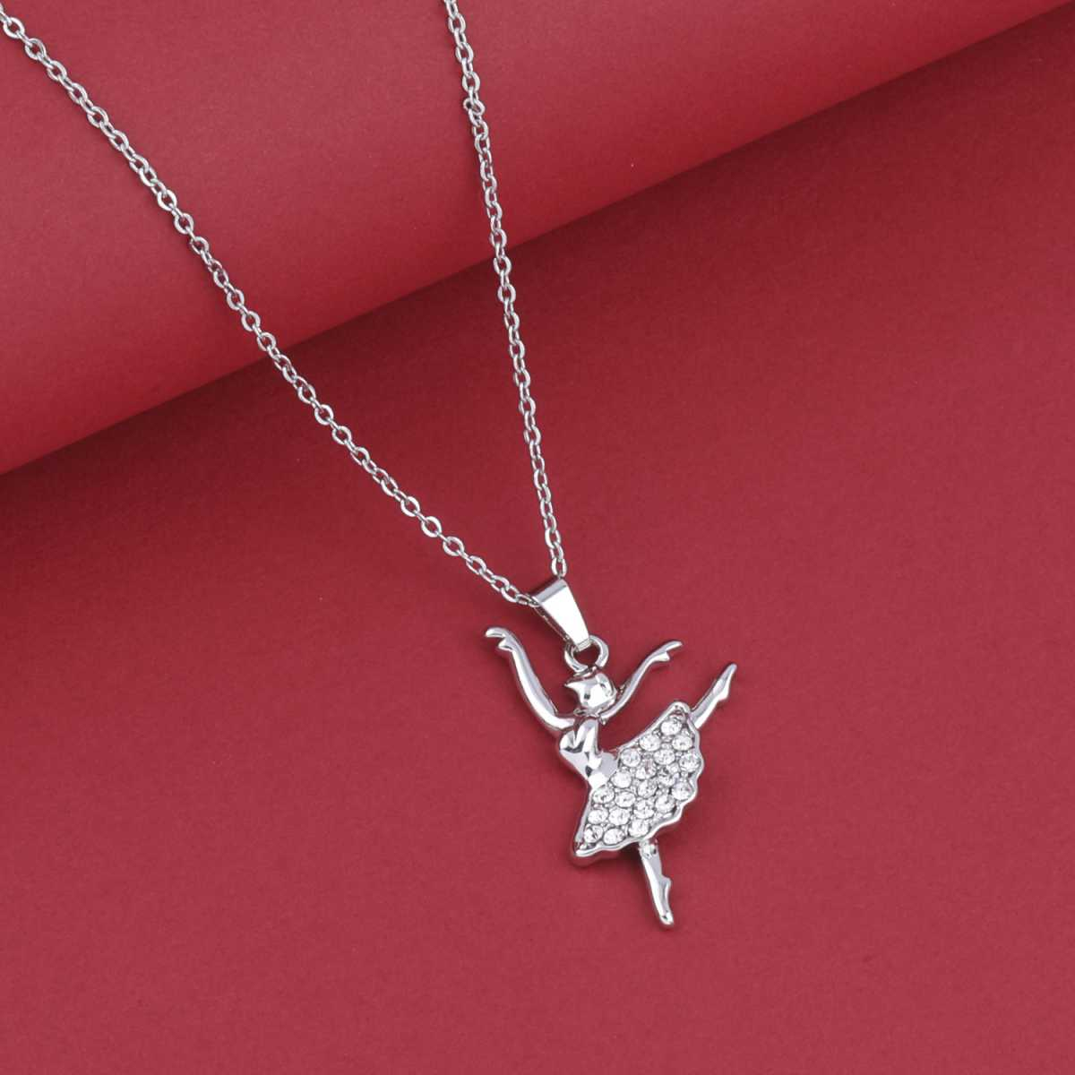 SILVER SHINE Gold Plated Delicated Chain With Guitar Shape Solitaire Diamond Pendant For Women
