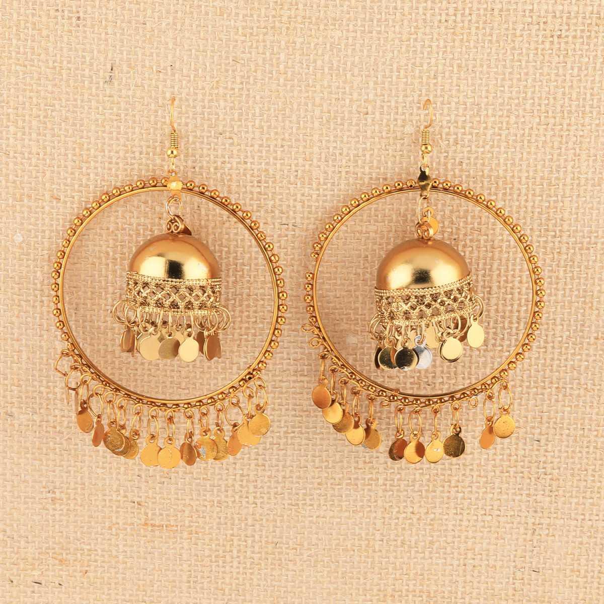 Silver Shine Stylish Party Wear Golden  jumki Dangle Earrings For Women Girl