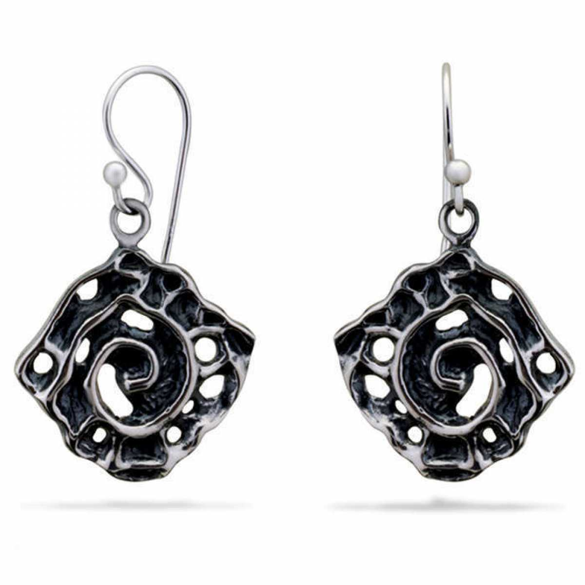 Black Flower Silver Drop Earring