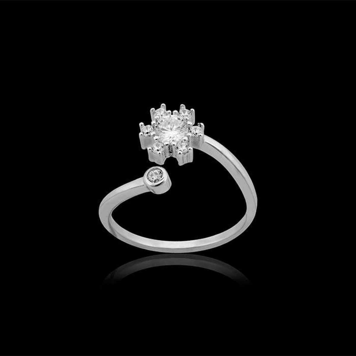 Round Diamond Silver Ring