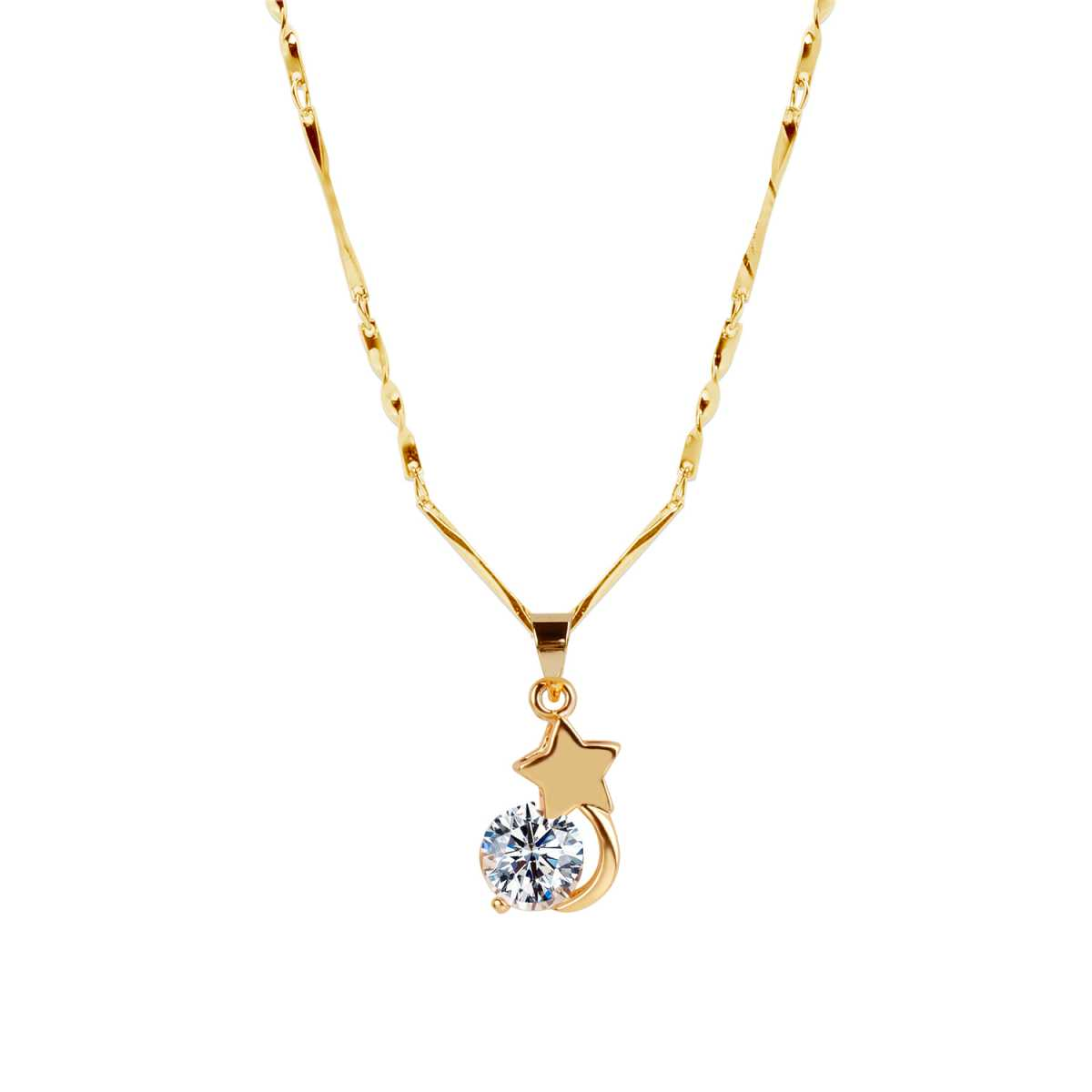 Gold Plated chain With Star & Moon Shape Solitaire Diamond Pendant For Women