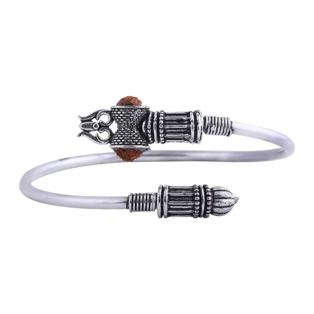 SILVER SHINE Adjustable Trishul Damroo Rudraksha Bahubali kada Bracelet Mahakal For Men Boys Girls