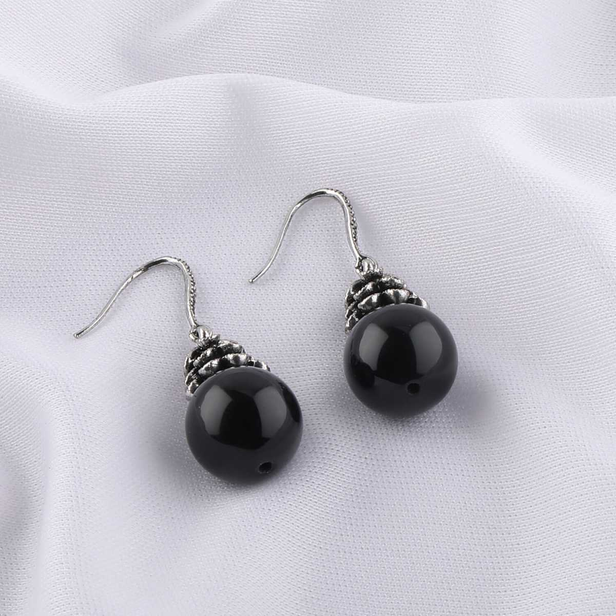 Silver Shine Oxidised Black Pearl Drop Party Wear Earring For Girls And Women Jewellery