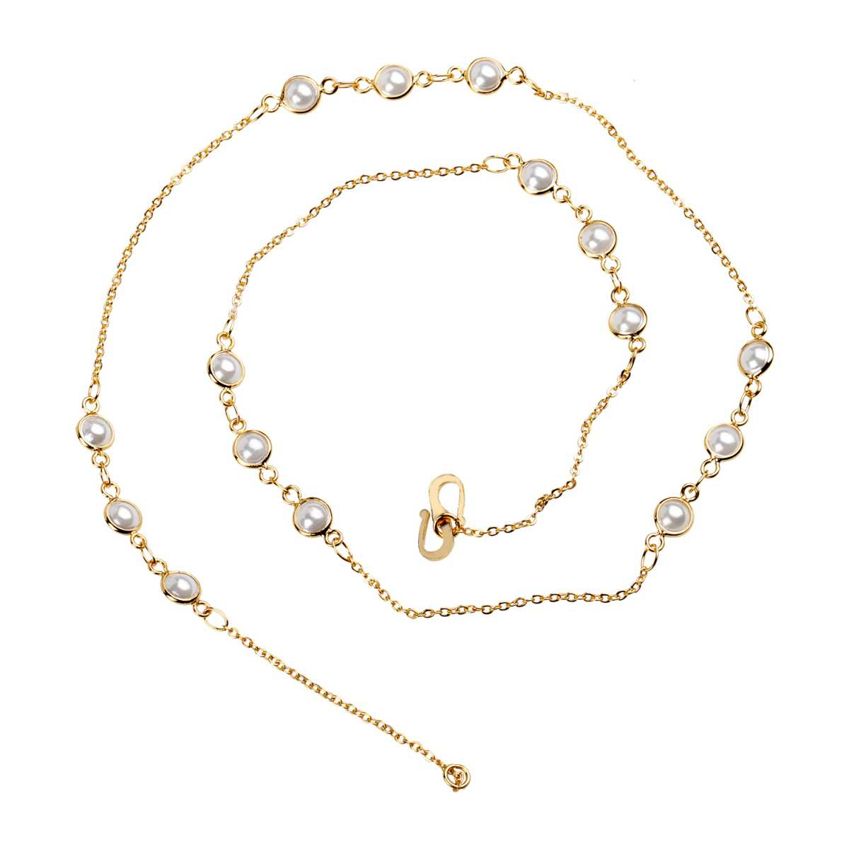 Silver Shine Dashing Gold Plated Delicate Pearl Chain Neckless Daily Wear Jewellry For Girls And Women