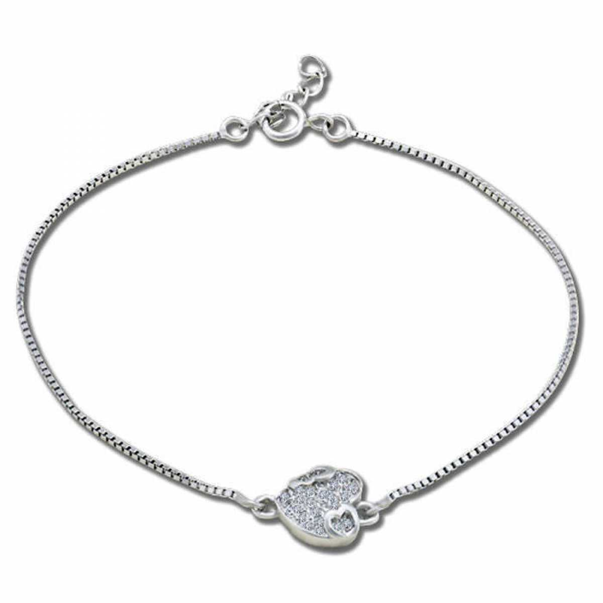 Silver Charm Bracelet With Heart