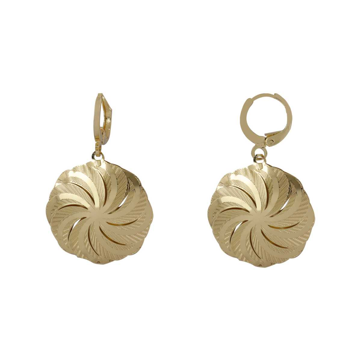 Silver Shine Shimmering Golden Round Clip On Bali Earring for Women