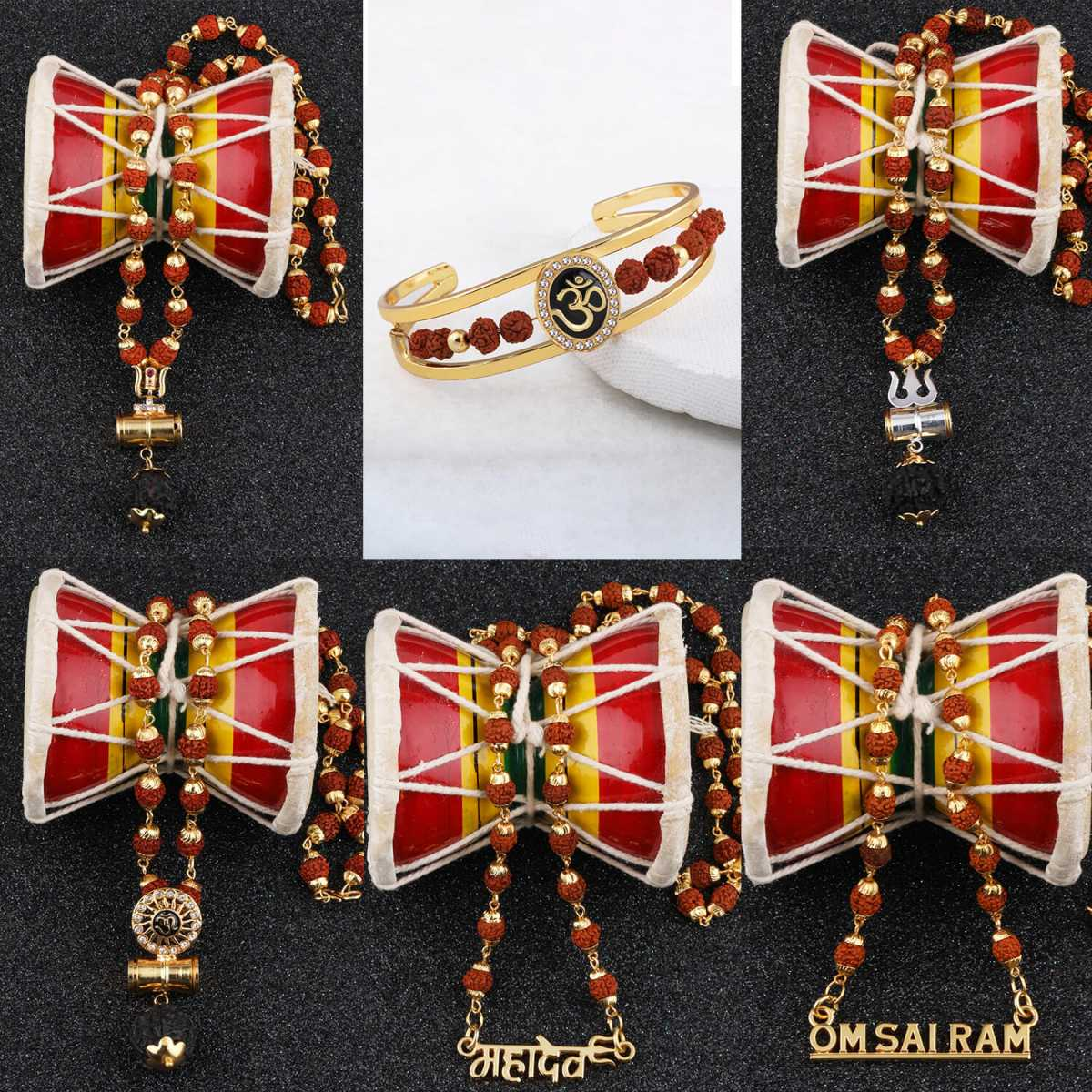 SILVER SHINE Gold Plated Traditional Combo Kada And  Mala Pendant for Men and Women-set 6