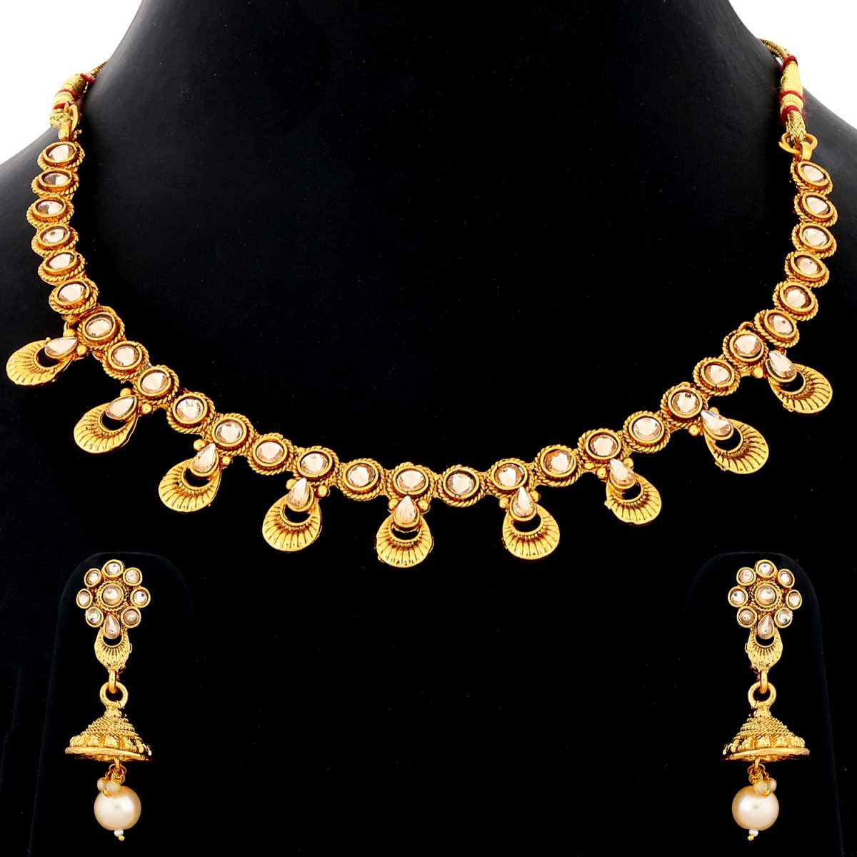 Silver Shine Exclusive Traditional Gold Plated White Kundan stone studded Designer Bridal Wedding Necklace Jewellery Set for Girls And women