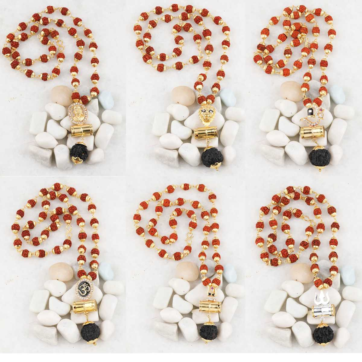 SILVER SHINE Gold Plated Traditional Combo Mala Pendant for Men and Women-set 6