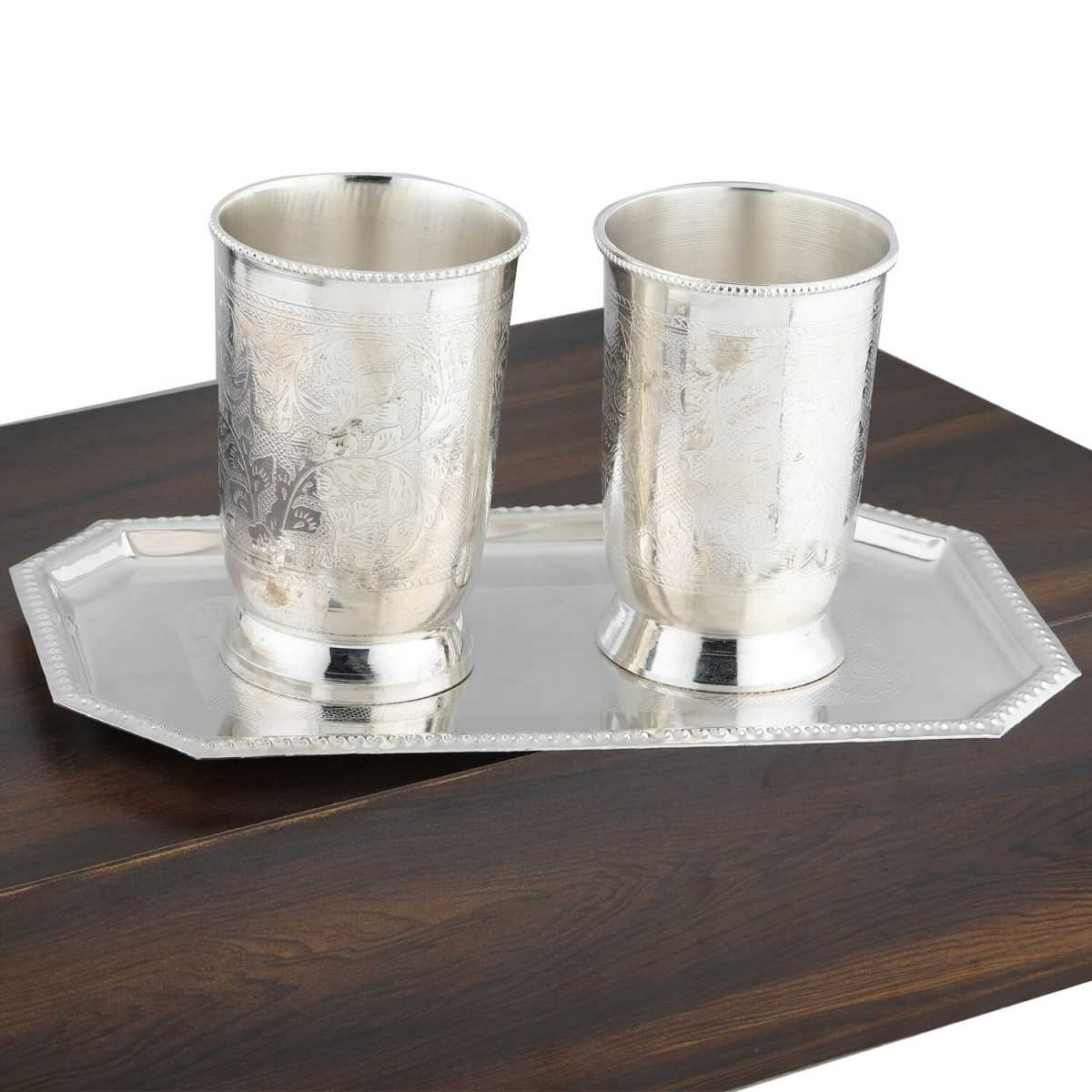 Silver Shine Silver Plated Self Textured Designer Water or Soft Drink Glasses Set of 2 With Tray
