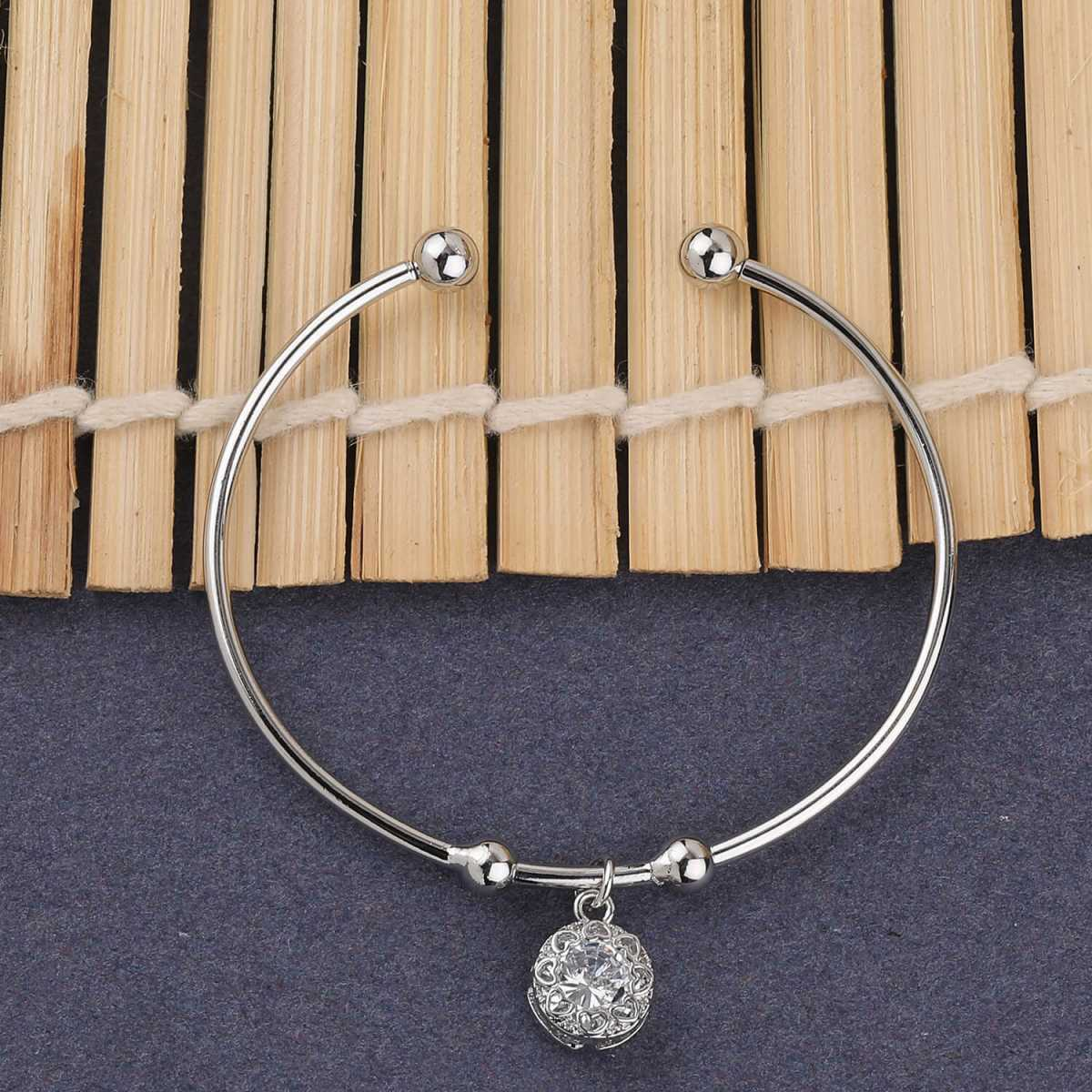 SILVER SHINE Party Wear Stylish Look Adjustable Bracelet With Diamond For Women Girls