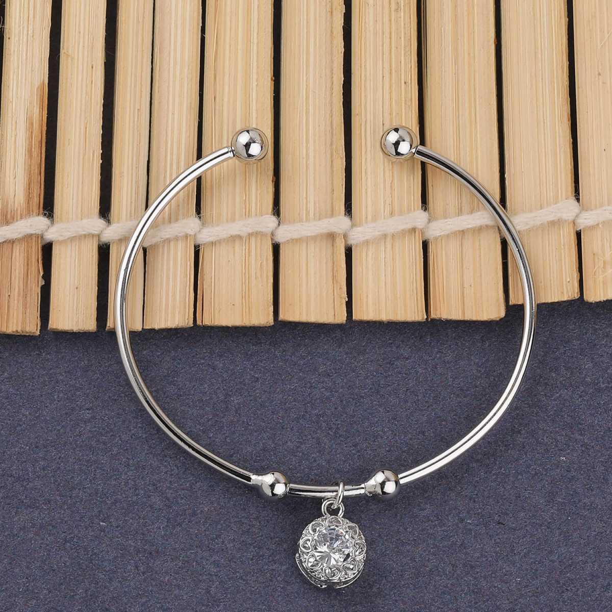 SILVER SHINE Party Wear Stylish Look Adjustable Bracelet With Diamond For Women Girls
