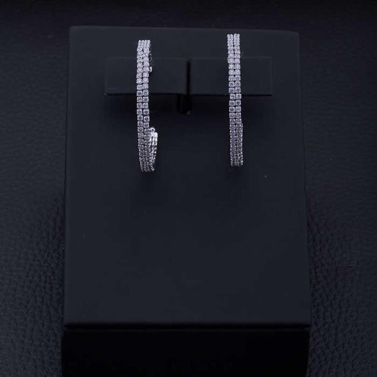 Diamond Circle Silver Earring