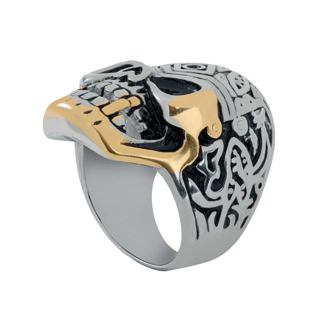 Silver Shine Stainless Steel Gothic Skull Finger Ring for Boys and Men