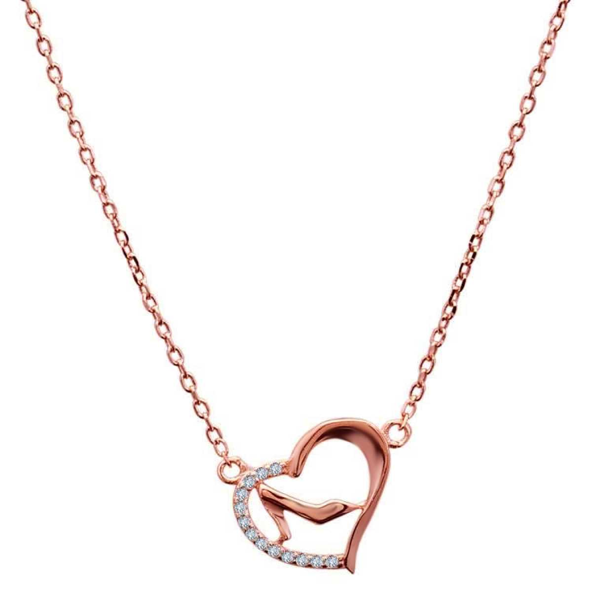 Rose Gold Heart With Diamond  Chain