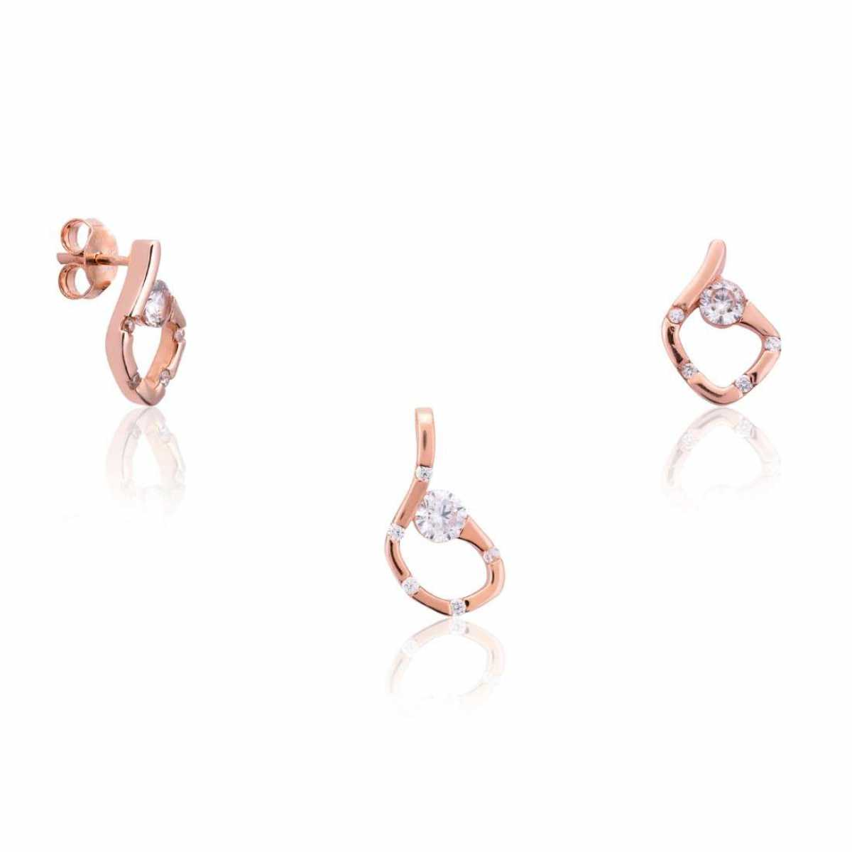 Rose Gold Coconut Shape Pendant Set