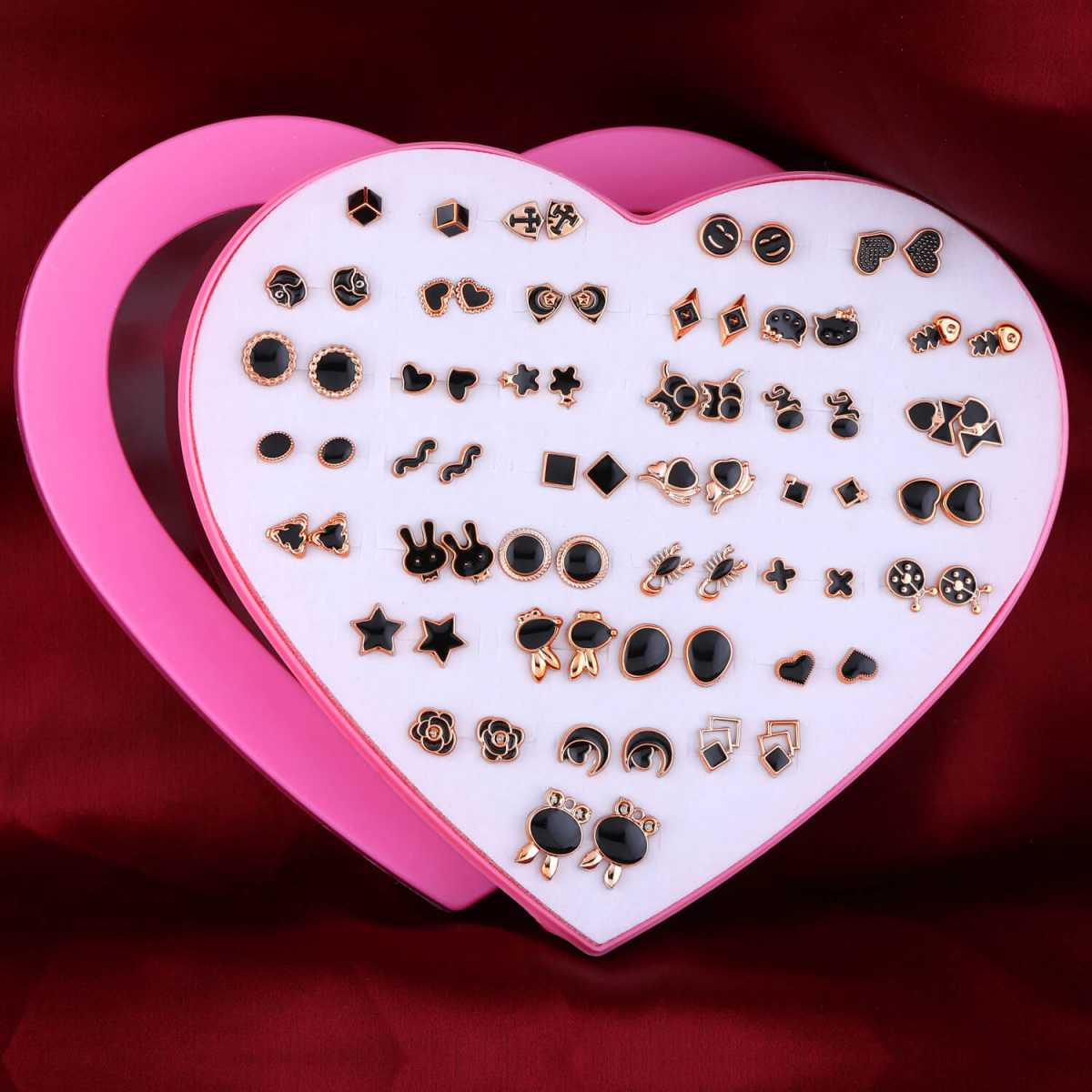 Silver Shine Black Colour new Fashion Set of 36 Earrings for Women…