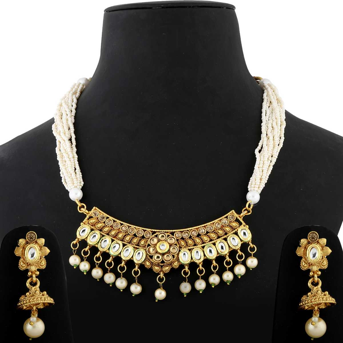 Silver Shine Exlusive Gold Plated Traditional Kundan White Stone Studded Pearl Drop Multi White bead line chain type Designer Mala Wedding Necklace jewellery set for Girls And Women