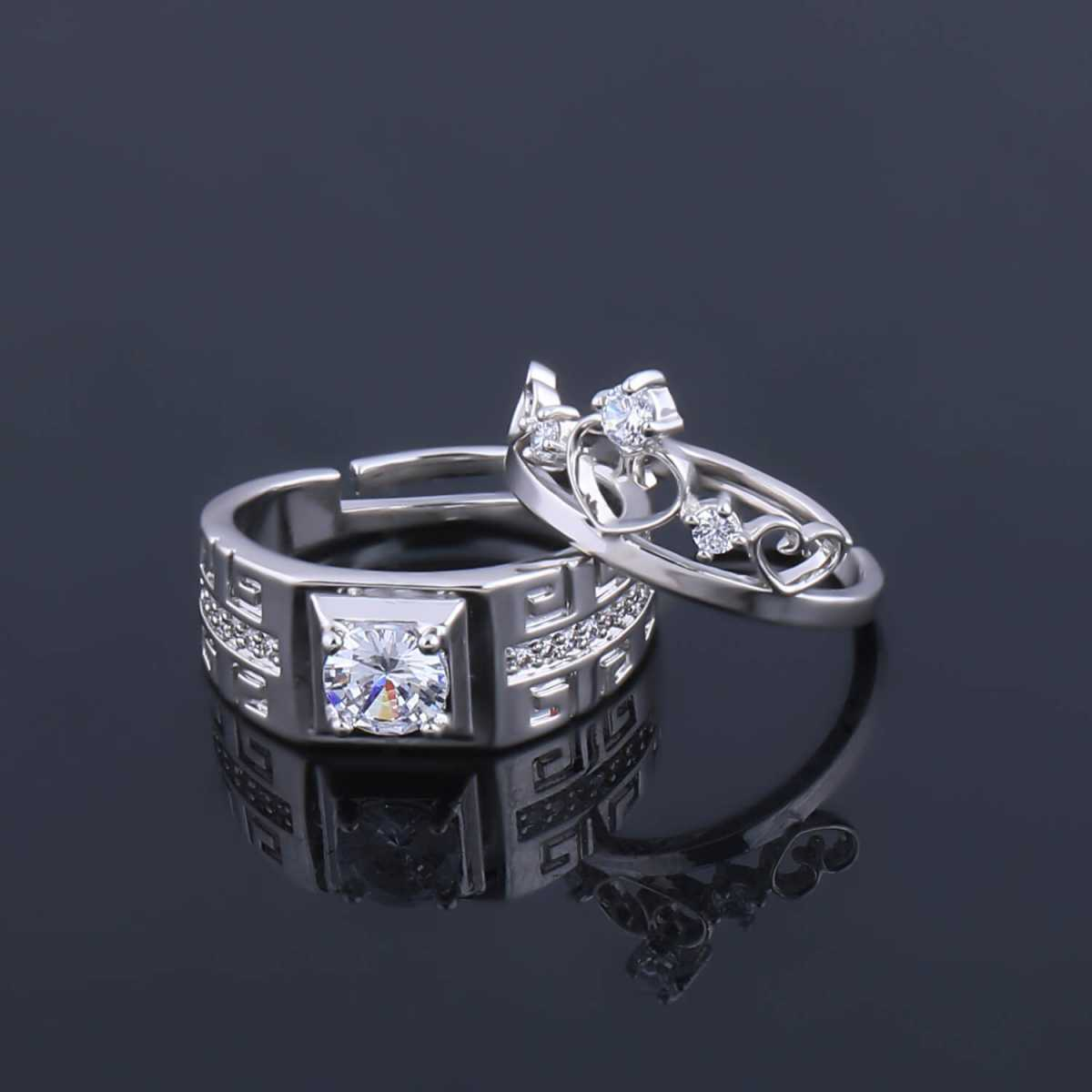 SILVERSHINE, silver plated adjustable royal and classy look king and queen crown design couple ring for men and women.