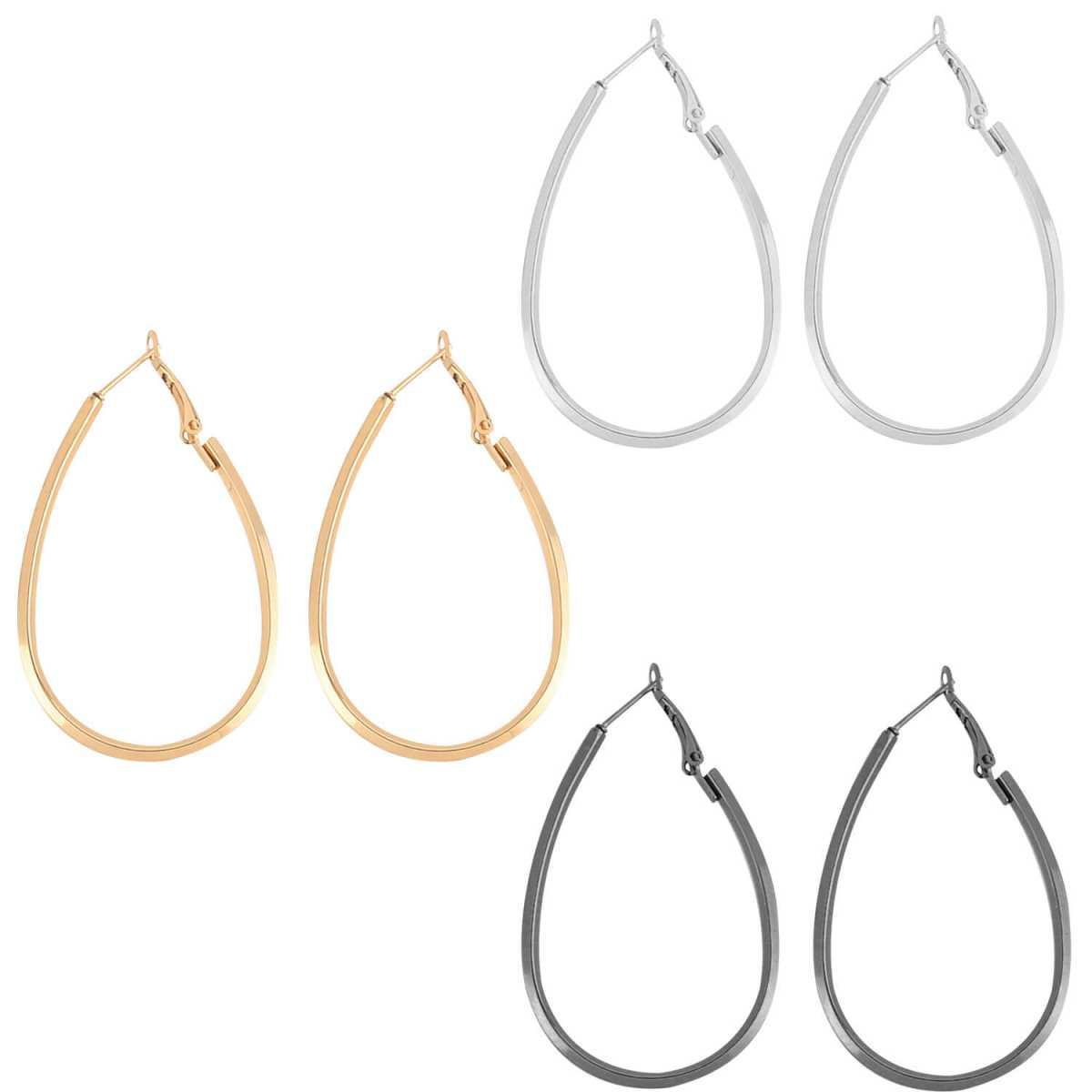 SILVER SHINE Elegant Silver Gold Black Earring Combo For Women Girl.