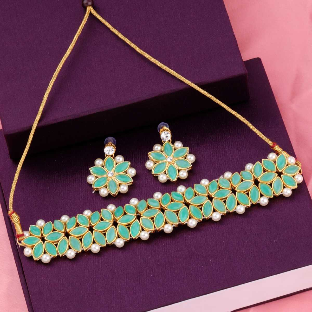 SILVER SHINE Gold Plated Exclusive Green Stone Choker Set For Girls And Women