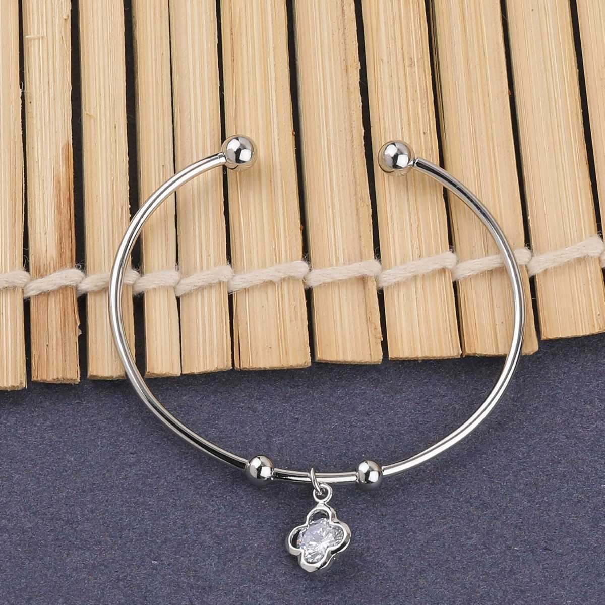 SILVER SHINE Stylish Party Wear Adjustable Bracelet With Diamond For Women Girls