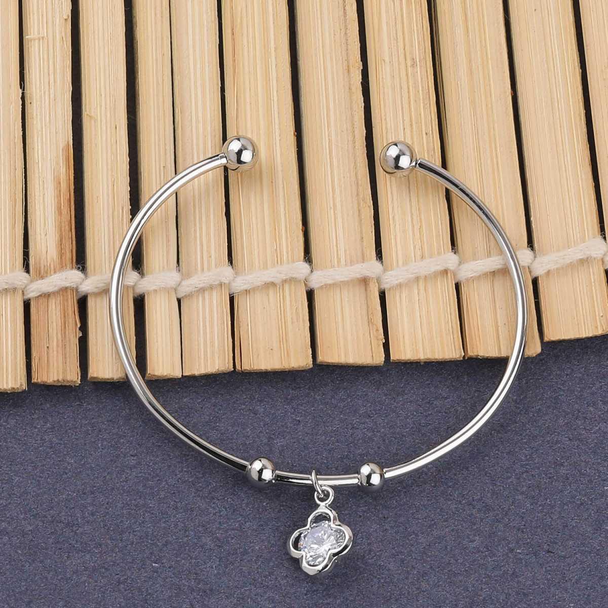 SILVER SHINE Stylish Party Wear Adjustable Bracelet With Diamond For Women Girls