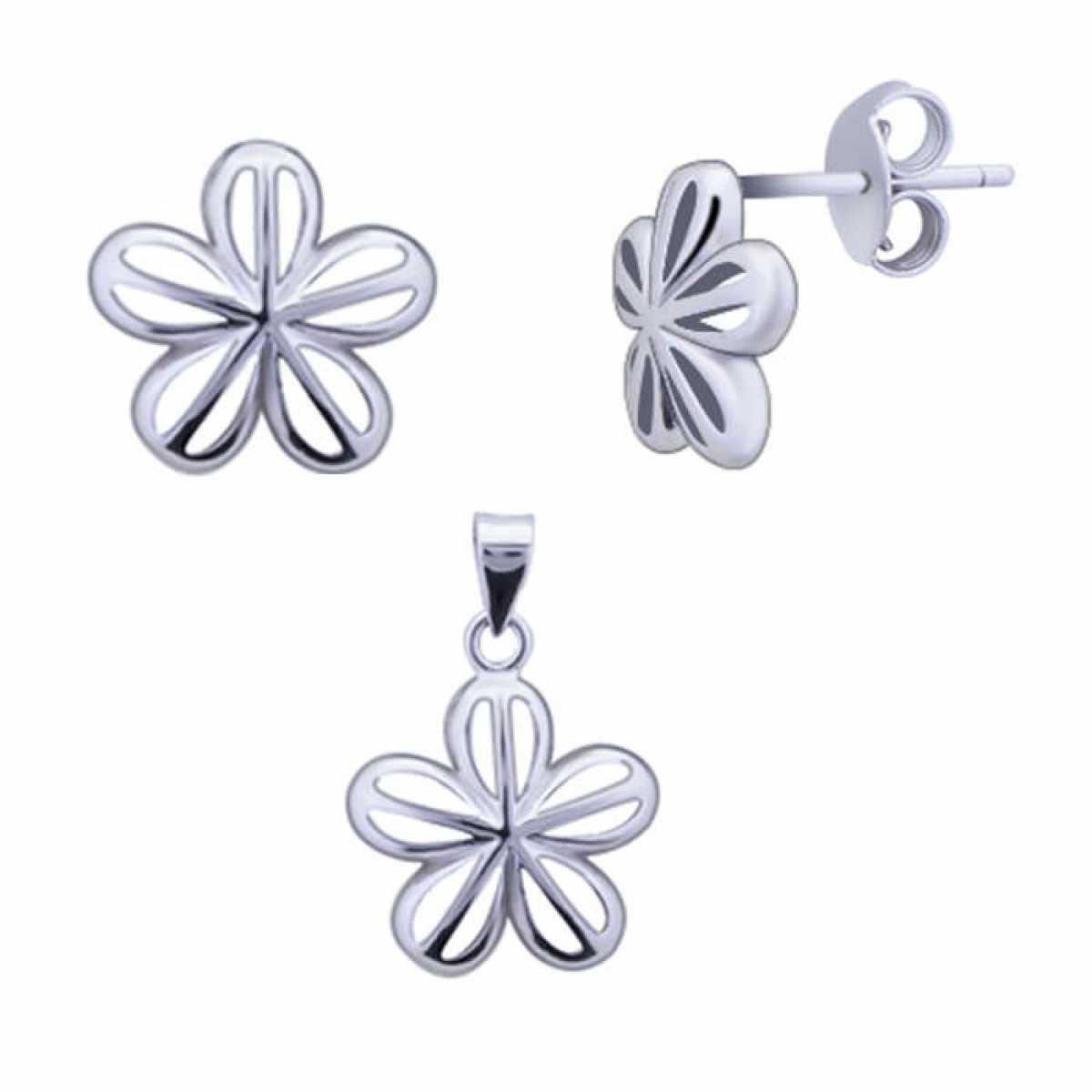 Open Flower Silver Pendant Set