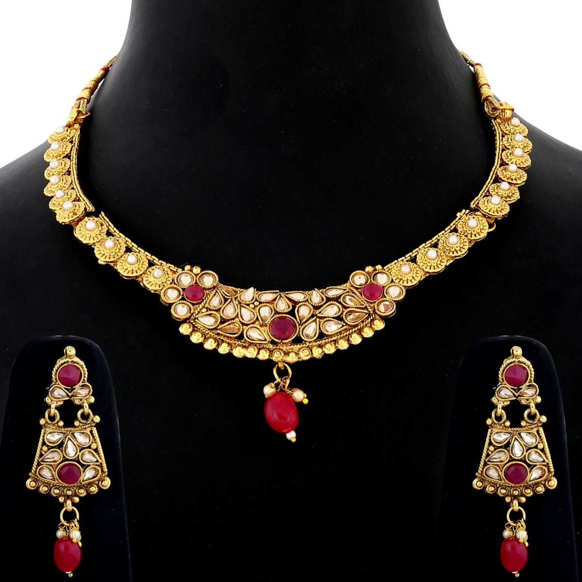 Silver Shine Exclusive Traditional Gold Plated Red Kundan stone studded Bead Drop Designer Bridal Wedding Necklace Jewellery Set for Girls And women