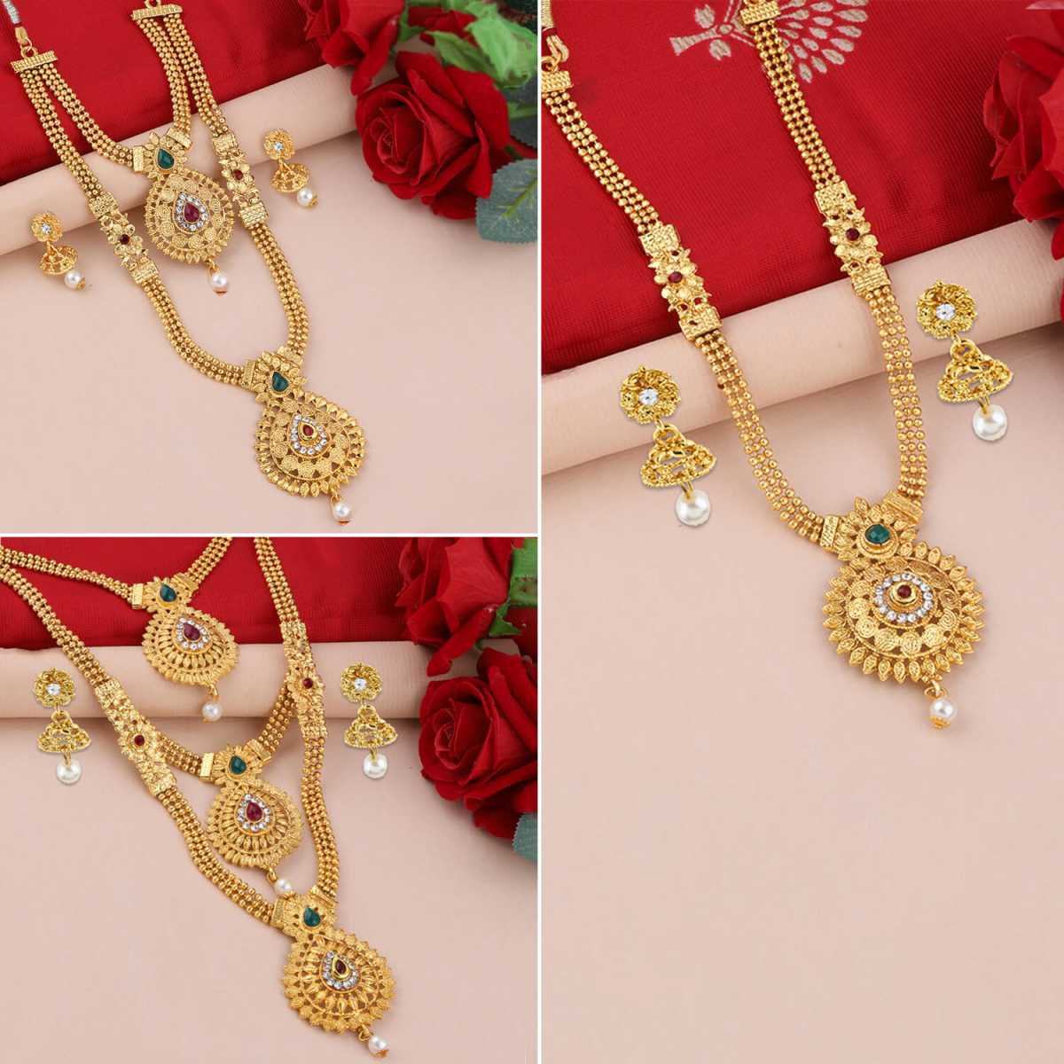 SILVER SHINE Gold Plated Traditional Designer Long Set Combo For Women