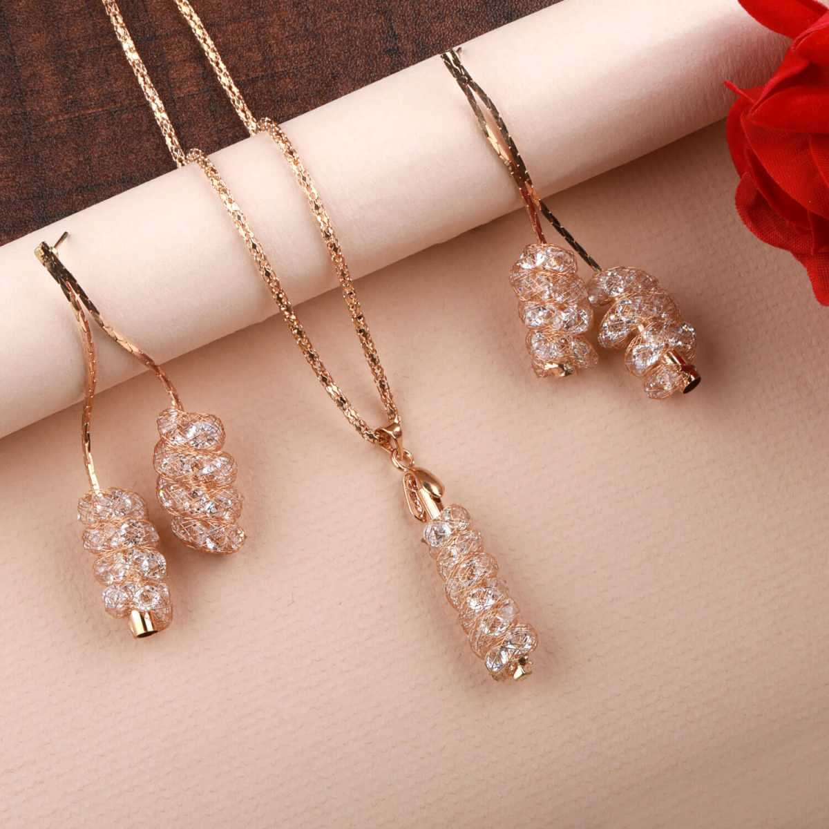 Goldplated Designer White Diamond Studded Necklace for women jewellery