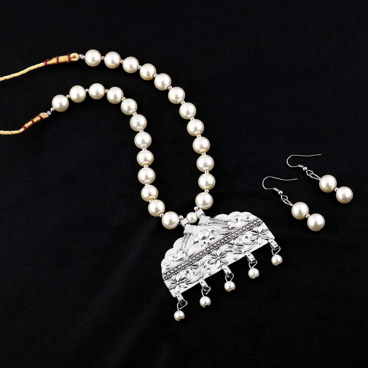 Silver Plated Exclusive Oxidised Pendant White Pearl Jewellery set for Women